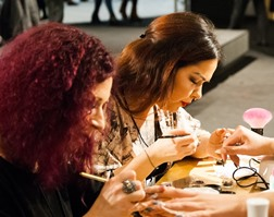 nail techs training at Warren MI beauty school